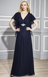 V-neck Poet-sleeve Chiffon long Mother of the Bride Dress With central Ruching