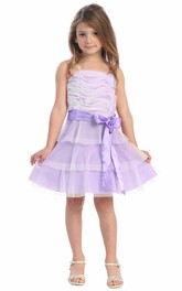 Tiered Embroidery Midi Floral Flower Girl Dress