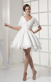 Criss-Cross Appliqued V-Neckline Short-Sleeve Mini Dress