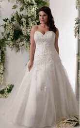 Sweetheart A-line Tulle Ball Gown With Appliques And Corset Back