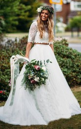 Bateau Lace Tulle Half Sleeve Court Train Low-V Back Two Piece Wedding Dress