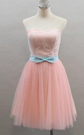 Short Strapless A-line Tulle Dress With Bow