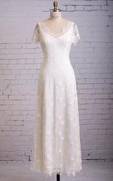 Column Cap-Sleeved Dress With Scalloped Edge Neckline
