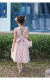 Pleated Bow Satin Sash Floral Blush Tulle Flower Girl Dress