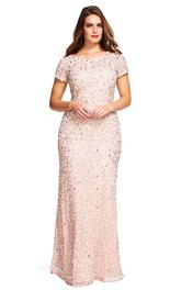Scoop-neck Short Sleeve Lace plus size Prom Dress With Beading
