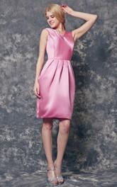 Deep V-back A-line Short Satin Dress With Bow