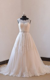 Blush Illusion Neck Wedding A-Line Ivory Lace Gown