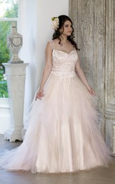 Strapped Chapel-Train Rhinestone Ball-Gown Princess Lace-Up-Back Tulle Dress