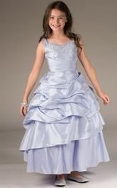Ruffled Skirt Taffeta Jewel-Neckline Flower Girl Dress