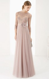 Tulle Long Sleeve Pleated Dress With Flower And Appliques
