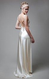 Deep-V-Back Satin High-Waist V-Neckline Wedding Long Gown