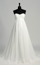 A-line Chiffon Sweetheart Court Train Sleeveless Maternity Wedding Dress with Beading and Ruching