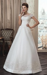 Tulle Illusion Wedding Strapped A-Line Lace Gown