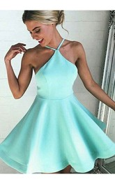 Sleeveless A-line Short Mini Halter Pleats Satin Homecoming Dress