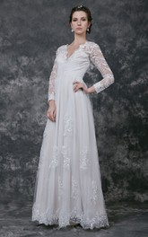 Chiffon Illusion Sleeve Ruched V-Neckline Gown