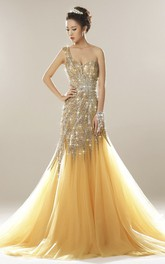 Luxury One Shoulder Open Back Tulle Mermaid Gown With Beading And Appliques