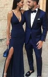 V-neck Jersey Sleeveless Floor-length Bodycon Prom Dress with Split Front