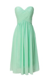 Ruched Lace-Up Back Sweetheart Strapless Short Gown