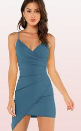 V-neck Spaghetti Taffeta Sleeveless Short Homecoming Dress with Pick Up