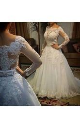 Scalloped Lace Tulle Illusion Long Sleeve Wedding Dress