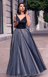 A Line Sleeveless Satin Tulle Casual Open Back Prom Dress with Bow