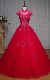 Floor-Length Tulle Corset High-Neck Bell Jeweled Cap Appliqued Ball Gown