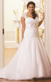 And Lace A-line Tulle Satin plus size wedding dress With Illusion back