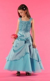 Wrapped Floral A-Line Bateau-Neckline Flower Girl Dress
