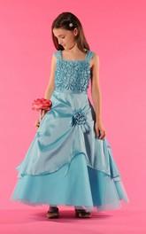 Wrapped Floral A-Line Bateau-Neckline Flower Girl Dress