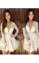 Long Sleeve A-line Short Mini Plunging Neckline Scalloped Beading Ruffles Lace Homecoming Dress