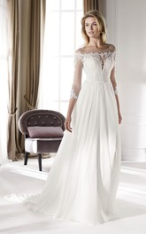 Ethereal Illusion Lace 3/4 Sleeves Chiffon Wedding Gown With Court Train