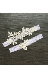 Handmade Lace Applique Pearl Sexy Elastic Garter Belt Within Within 16-23inch