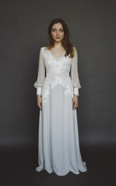 Long Poet Sleeve Chiffon Wedding Gown With Split And V-neck And Lace Appliques