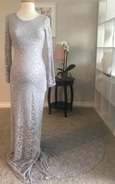 Sheath Bateau Lace Long Sleeve Floor-length Court Train Lace Maternity Dress
