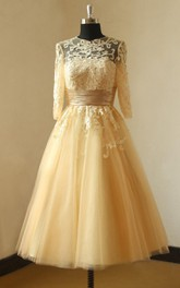 Lace Champagne Vintage Mid-Sleeves Dress