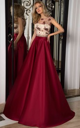 A-Line Scoop Cap-Sleeve Floor-Length Lace Satin Prom Dress With Lace-Up Back And Appliques