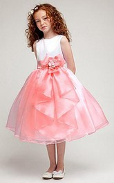 Slit-Front Satin Bowknot Tea-Length Organza Flower Girl Dress