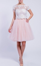 Bateau Short Sleeve short A-line Tulle Dress With Illusion Lace top