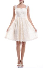 Strapped Lace A-line short Wedding Dress With Keyhole
