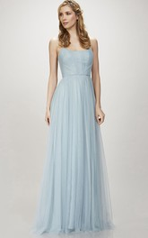 Spaghetti Tulle Sheath Bridesmaid Dress With Pleats