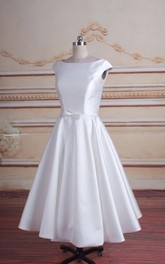Bateau-neck Cap-sleeve Satin A-line Tea-length Dress With Pleats