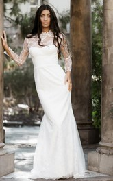 Modest Long Sleeve Mermaid Lace High Neck Wedding Dress with Sweep Train