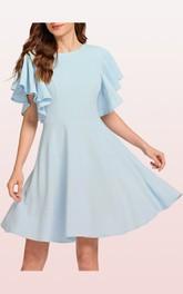 Bateau Jersey Short Sleeve Knee-length Zipper Cocktail Dress with Pleats