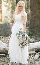 V-neck Chiffon Lace Illusion Half Sleeve Wedding Dress