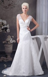 Appliqued Ruched Waist Caped-Sleeve Plunged Gown