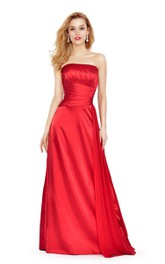 Strapless A-line Satin Ruched Dress