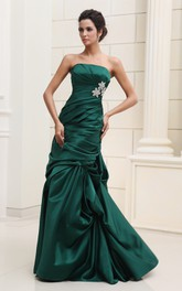 Ruched Pick-Up Ruffled Satin Unique Strapless Dress