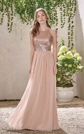 A-line Sleeveless Floor-length Halter V-neck Chiffon Sequins Bridesmaid Dress with Zipper Back