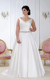 Satin V-neck Sleeveless Ruched plus size wedding dress With Beading