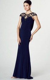 Jewel-Neck Cap-sleeve Jersey Sheath Dress With Beading